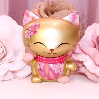 Mani The Lucky Cat - Figurine Mani Doré Rose