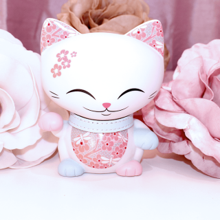 Mani The Lucky Cat - Figurine Mani Rose pâle