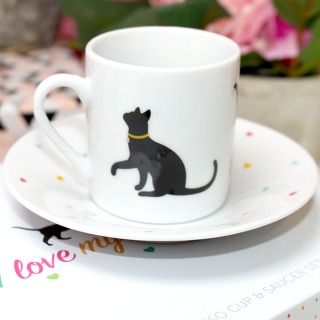 "Coffret de tasse chat expresso ""I love my cat"""