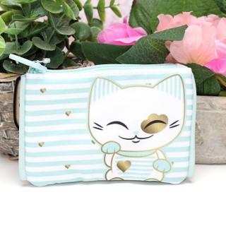 Porte Monnaie Mani The Lucky Cat Bleu clair