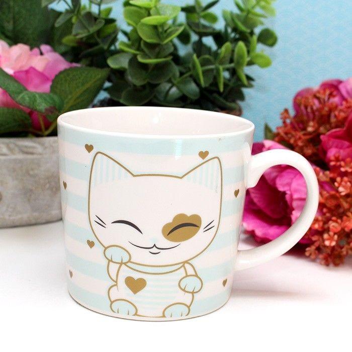 Mug Mani The Lucky Cat turquoise