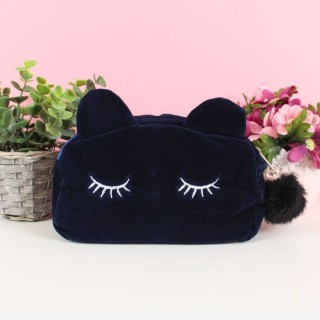 Pochette de maquillage Chat Bleu roi