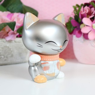 Mani The Lucky Cat Argent métallique 11cm