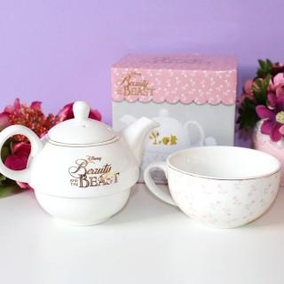 La Belle et la Bête théière et bol floral