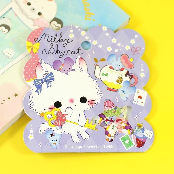 Pochette de stickers Milkey shy Cat
