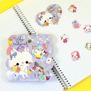Pochette de stickers Milkey shy Cat
