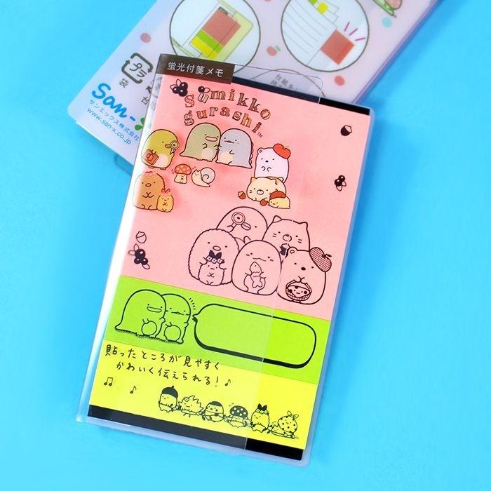 Post-it Sumikko Gurashi Fluo 3 designs - Rose / Tamtokki.com - Boutique Kawaii en France IM#5583