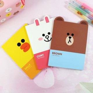 Ensemble de 3 carnets de note Line Friends, avec Brown, Cony et Sally / Tamtokki.com - Boutique Kawaii en France IM#8814